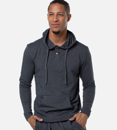 men's carbon heather bamboo hoodie pullover