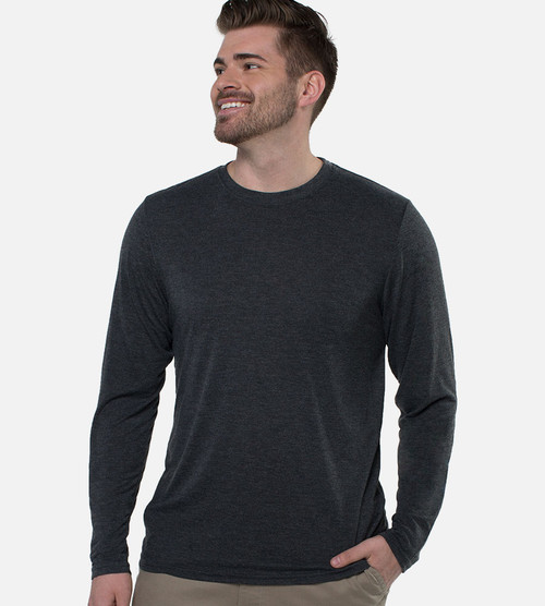 men's charcoal bamboo long sleeve crew tee