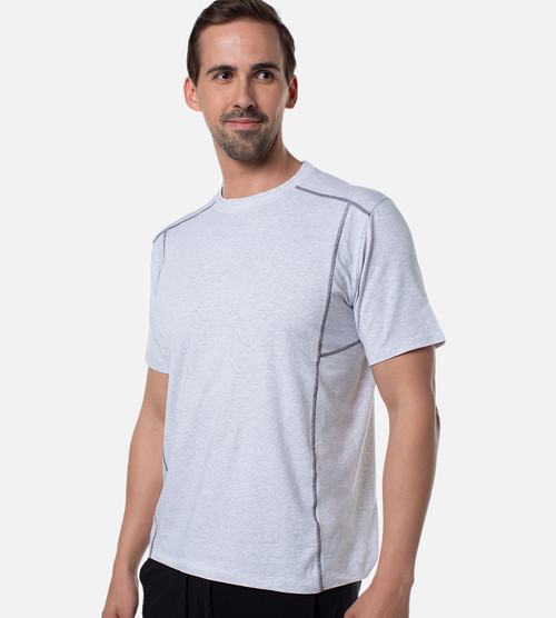 front view of model wearing the light heather gray performance crew
