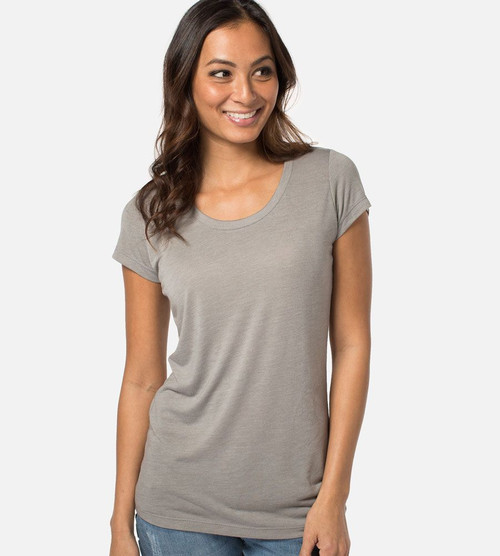 women's gray heather bamboo scoop tee