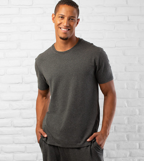 men's charcoal heather bamboo sleep crew shirt