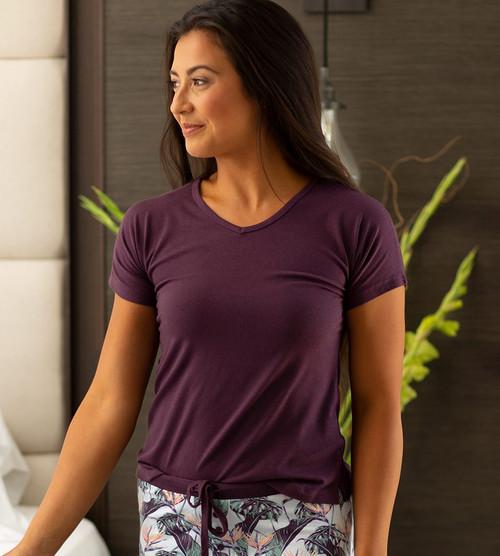 model wearing deep violet sleep dolman v-neck