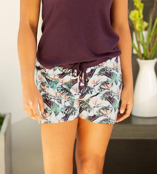 model wearing birds of paradise sleep shorts