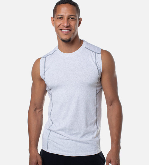 front view of men's light heather gray bamboo tank with contrast stitch