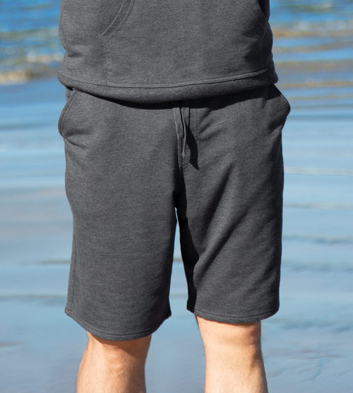 front view of model wearing carbon training shorts