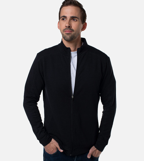 front view of guy wearing black bamboo jacket halfway zipped up