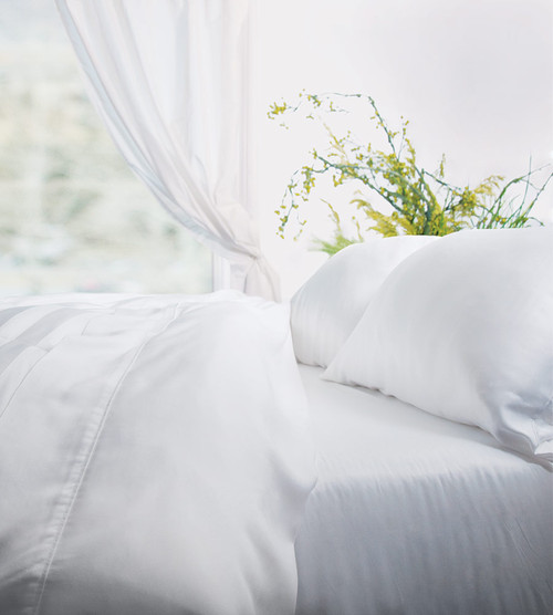 white resort percale bamboo bed sheet set