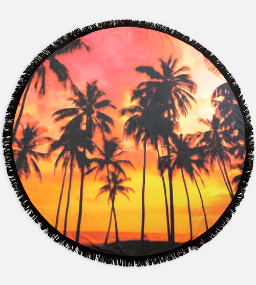 full view of palm sunset round beach towel
