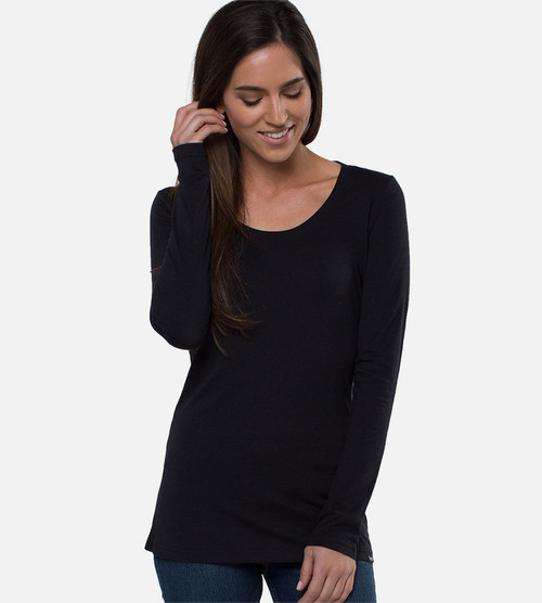women's black bamboo athletic long-sleeve top