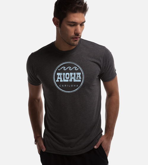 front view of model wearing aloha graphic tee