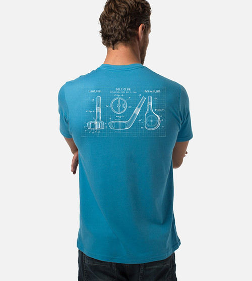 back view of model wearing driver blueprint back graphic tee
