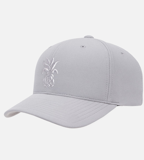 front, side view of Silver puff pineapple tonal hat