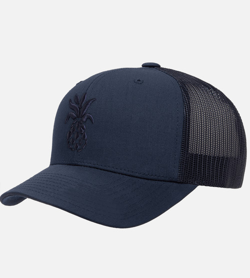 front, side view of navy trucker puff pineapple hat