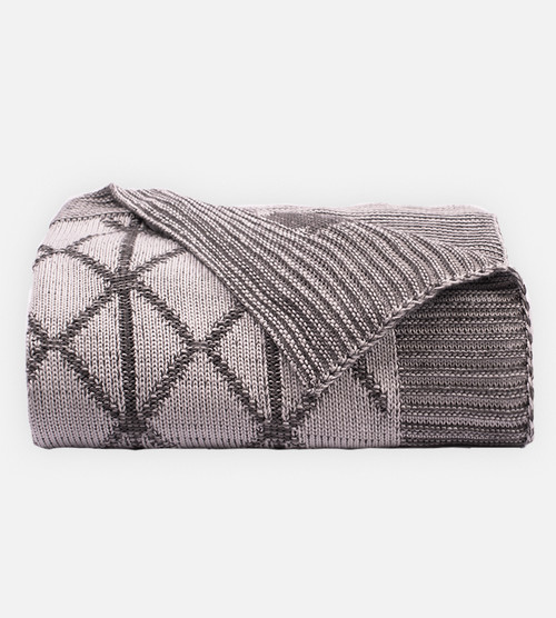 side view of Two-Tone Onyx/Harbor Gray knit throw