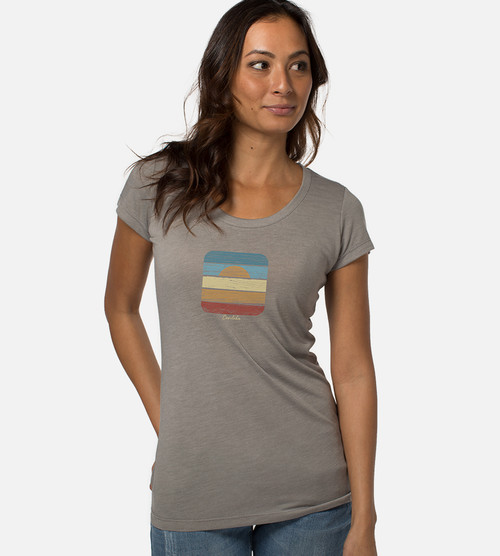 front view of model wearing beach board graphic tee