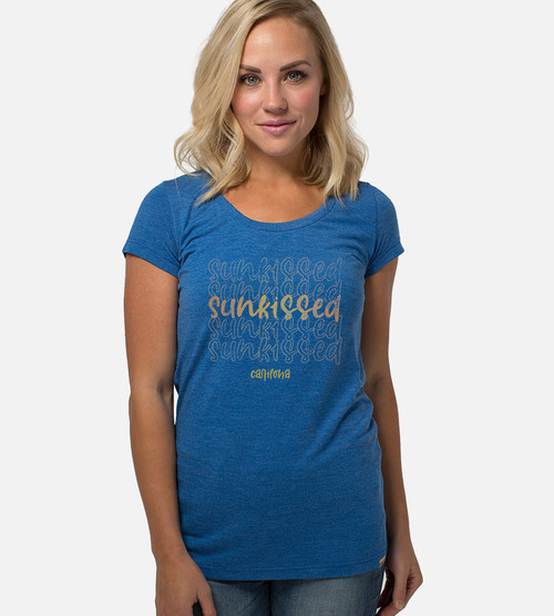 front view of model wearing sunkissed graphic tee