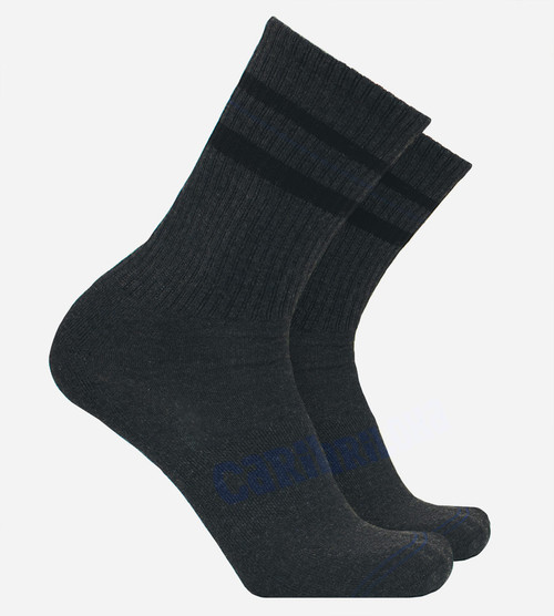 men's onyx heather bamboo striped crew socks
