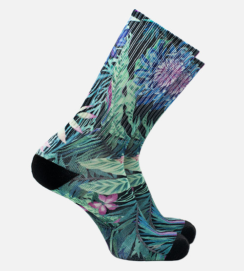 men's bamboo printed crew socks featuring our foliage design