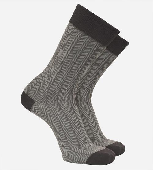 men's bamboo trouser socks in herringbone gray color