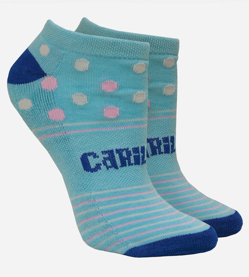side product view of women's dot light blue bamboo striped ankle socks