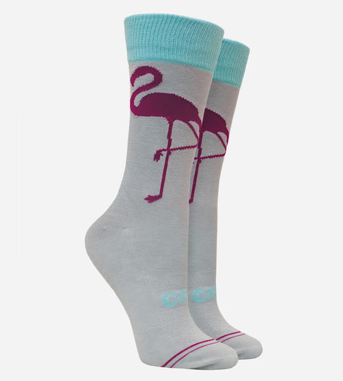 women flamingo gray bamboo trouser socks