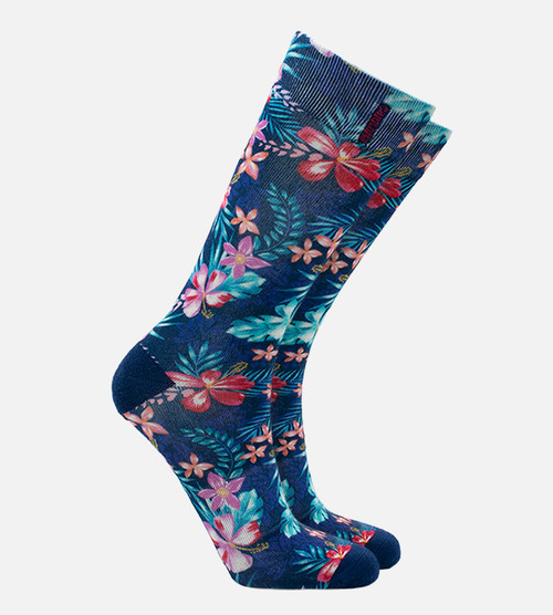 women's bamboo printed trouser socks featuring our foliage navy design
