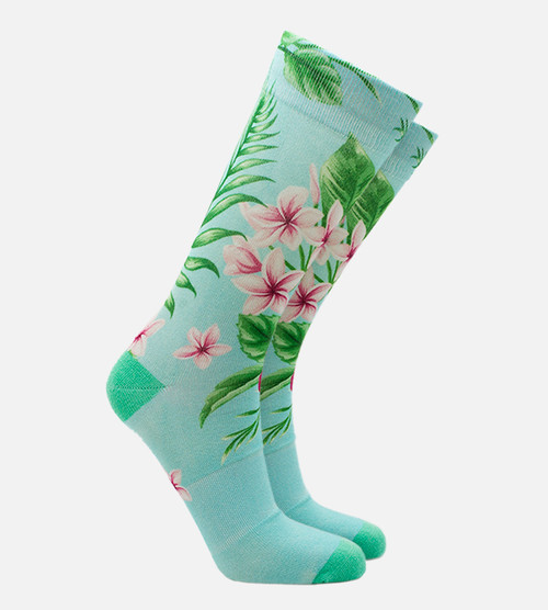 women's bamboo printed trouser socks featuring our hibiscus floral aqua design
