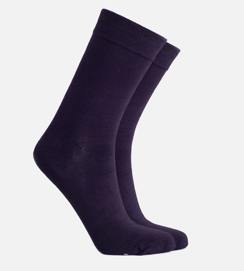 women's navy bamboo trouser socks