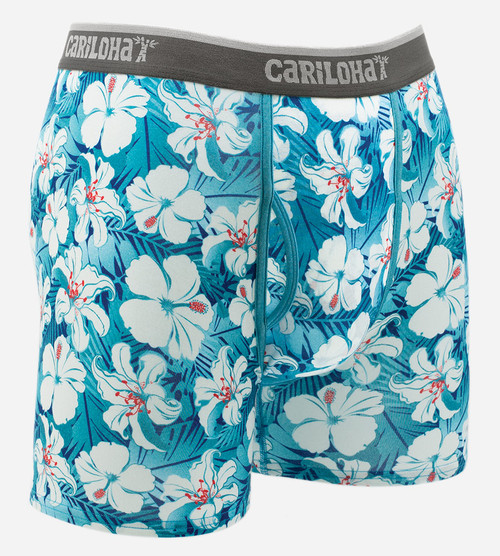 front view of blue hibiscus printed boxers