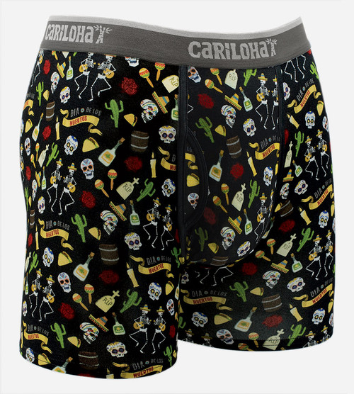 front view of day of the dead printed boxers