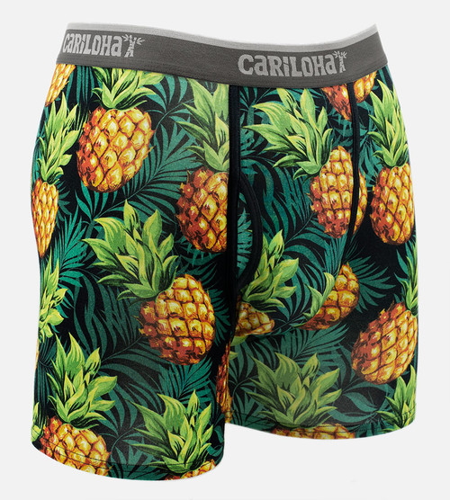 front view of pineapple printed boxers
