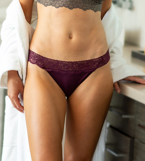 front view close-up of model wearing merlot thong
