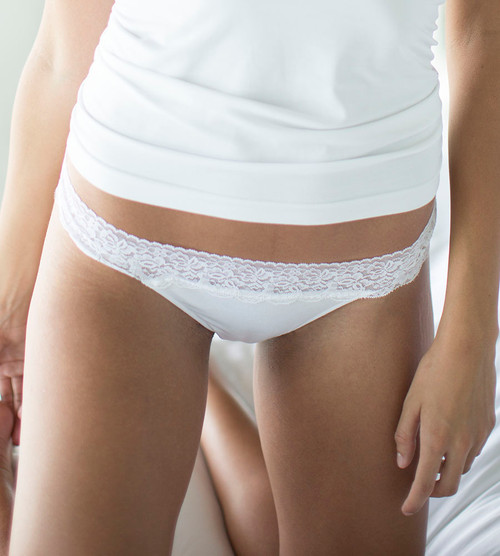 women's white bamboo lace thong panties
