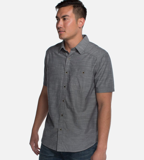 a male model in bamboo woven button-up top