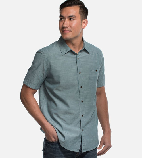 men's coastal green bamboo woven button-up top