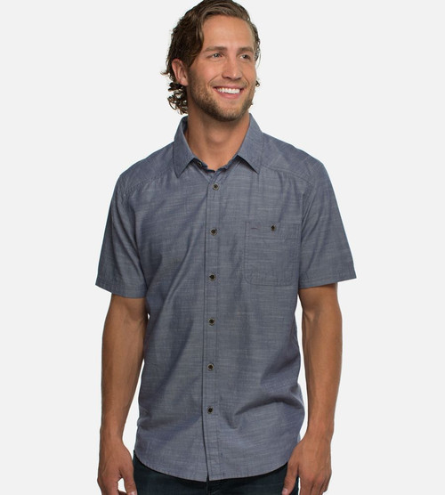 men's bamboo woven button-up shirt in lake shore color