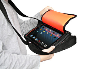 Padded Ballistic Nylon Hybrid Travel Case / Mini-Messenger Bag for iPad, Pad 2, iPad 3, iPad 4