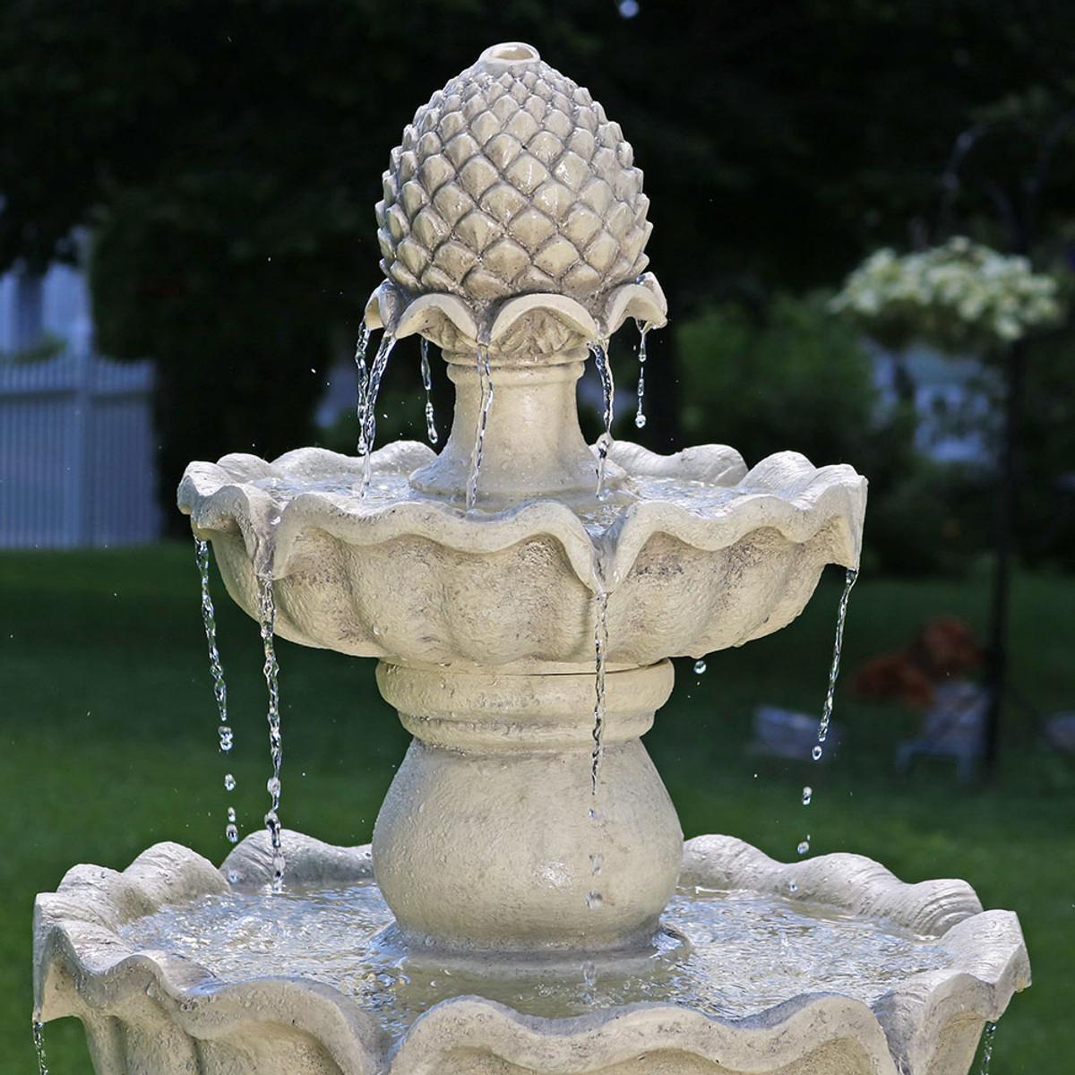 Sunnydaze Three Tier Outdoor Pineapple Garden Fountain