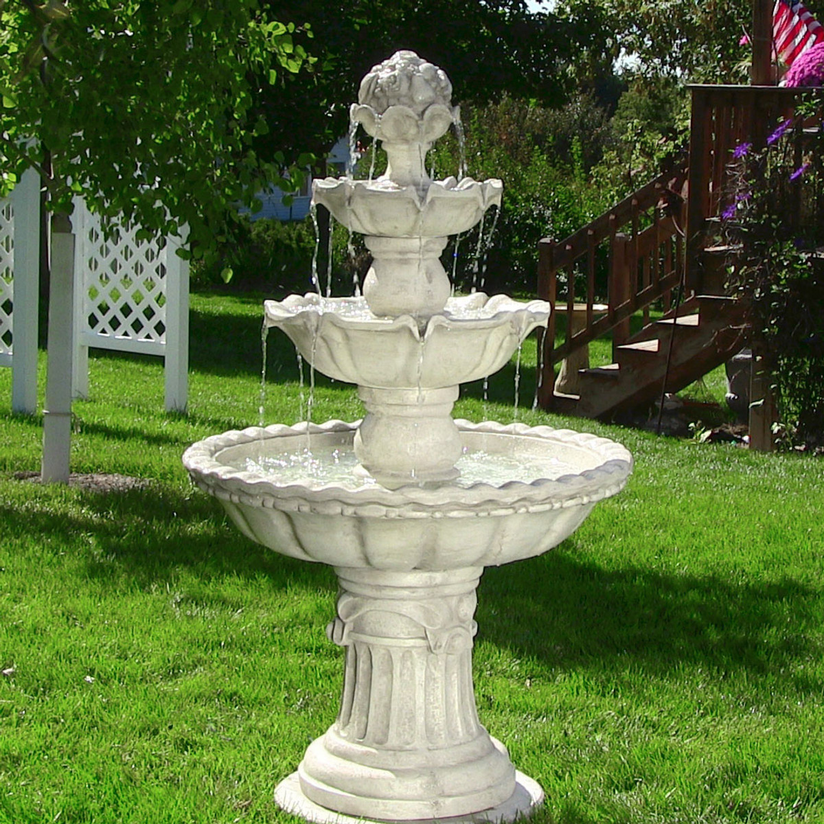 97c82fddd6b Sunnydaze Four-Tier White Electric Water Fountain with Fruit Top
