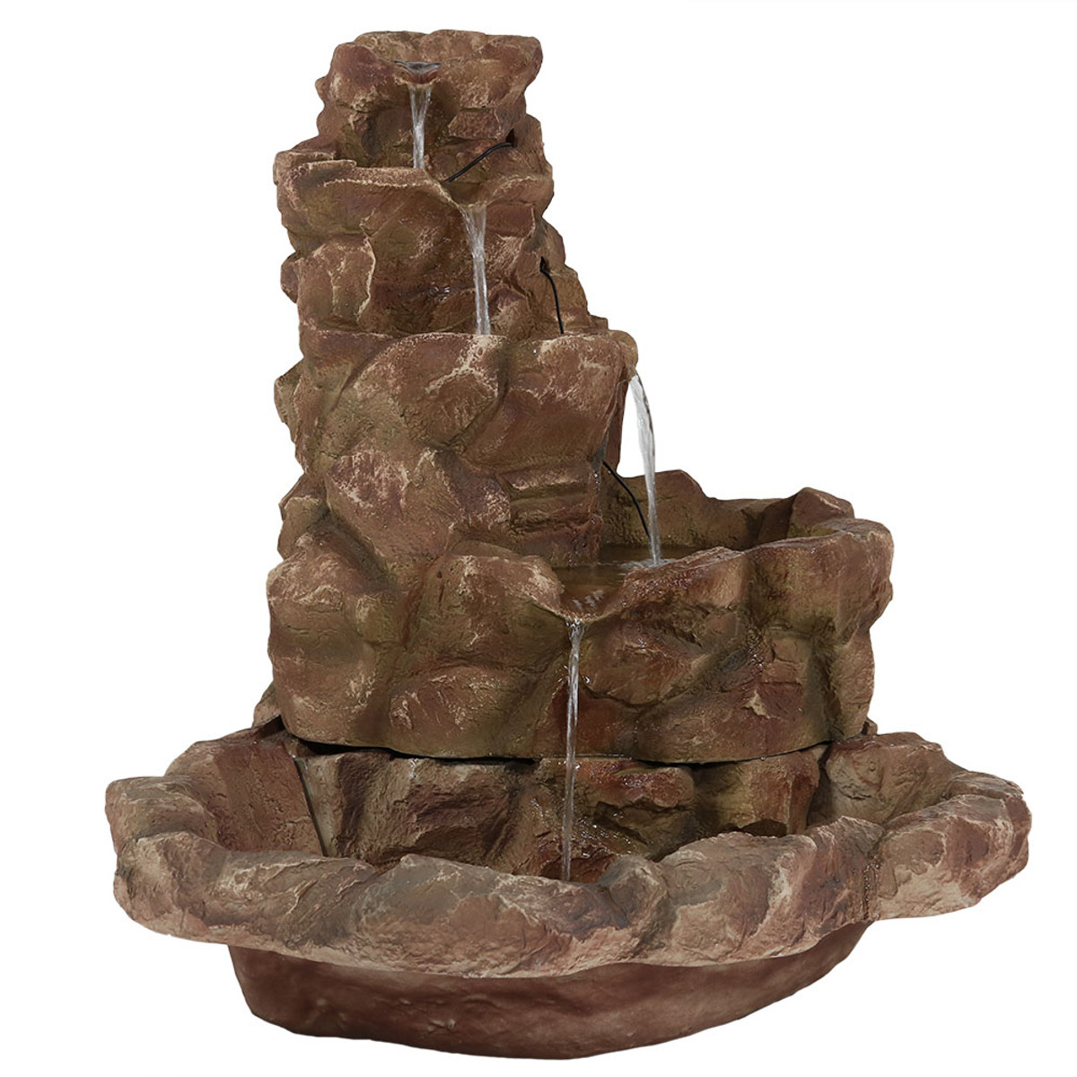 Sunnydaze Lighted Stone Springs Outdoor Water Fountain
