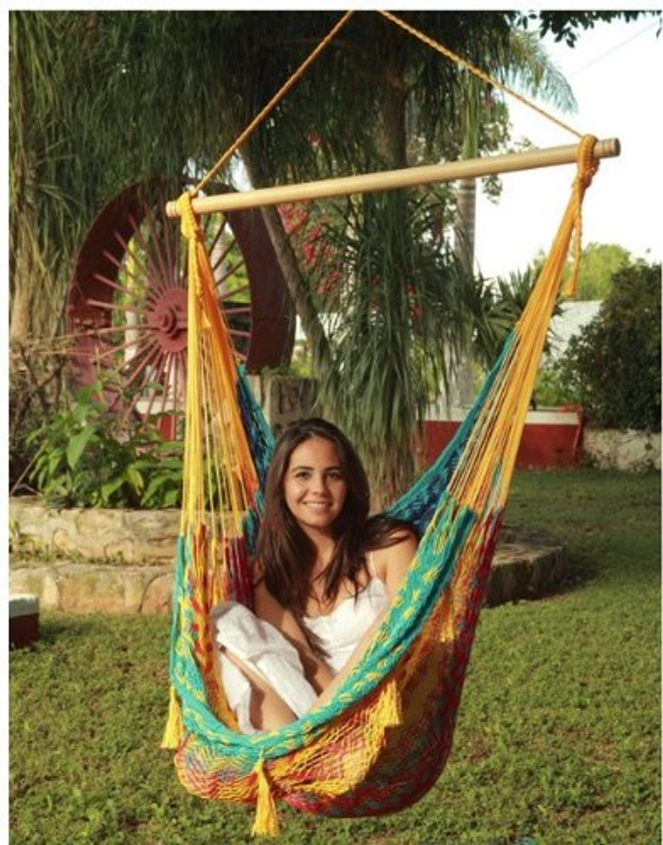 Sunnydaze Mayan Chair Hammock Wood Bar Extra Large