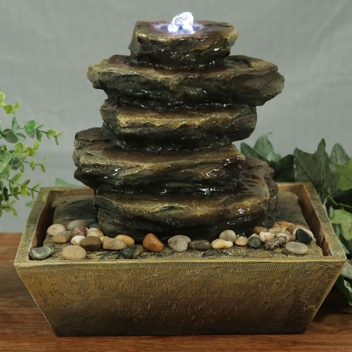 Sunnydaze Cascading Rocks Tabletop Fountain with LED Lights e20ca70ce
