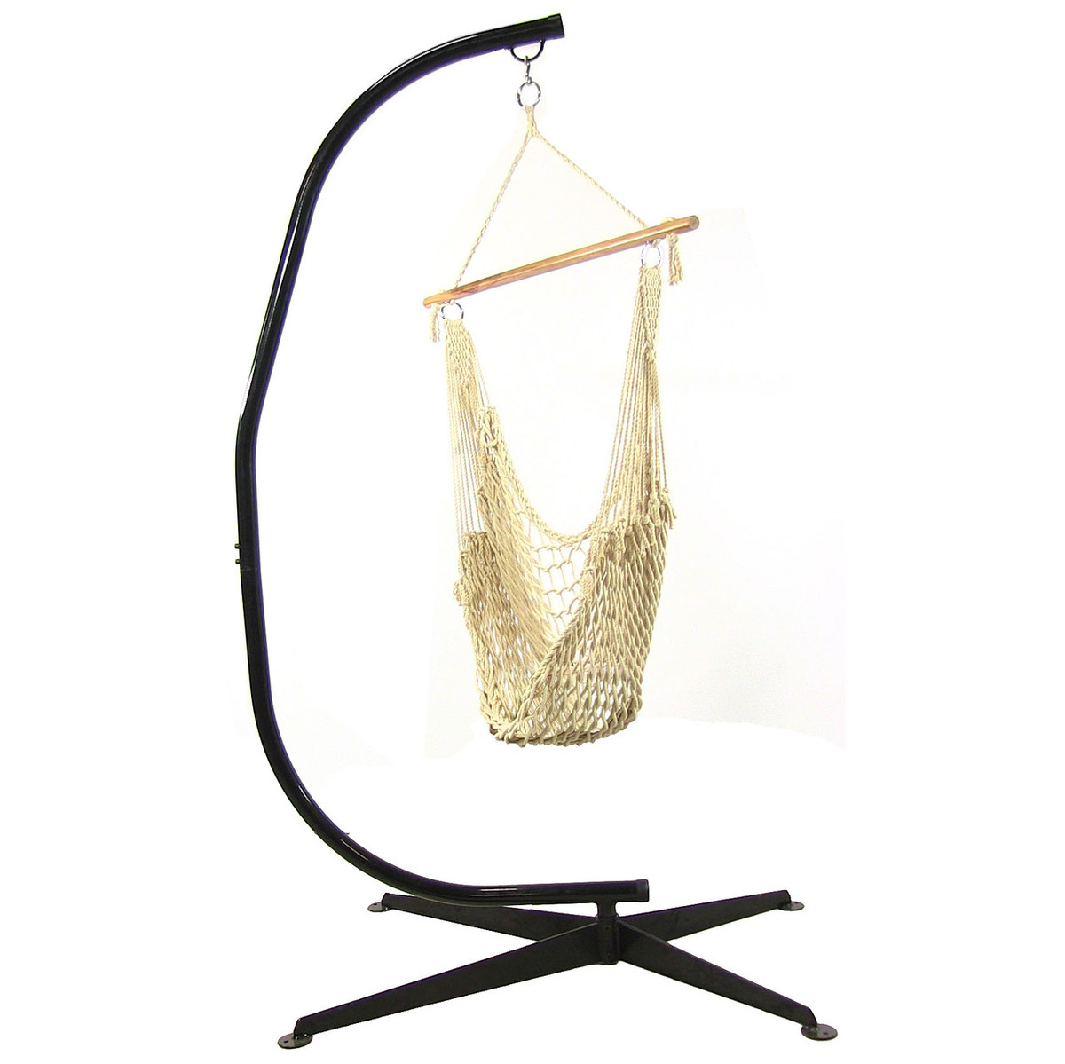 Sunnydaze Cotton Rope Hanging Hammock Chair Swing With C Stand, 48 Inch  Wide Seat, Max Weight: 300 Pounds