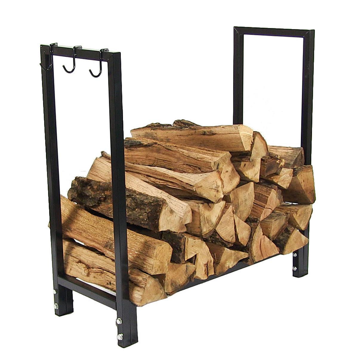 Sunnydaze Indoor Outdoor Steel Firewood Rack 30