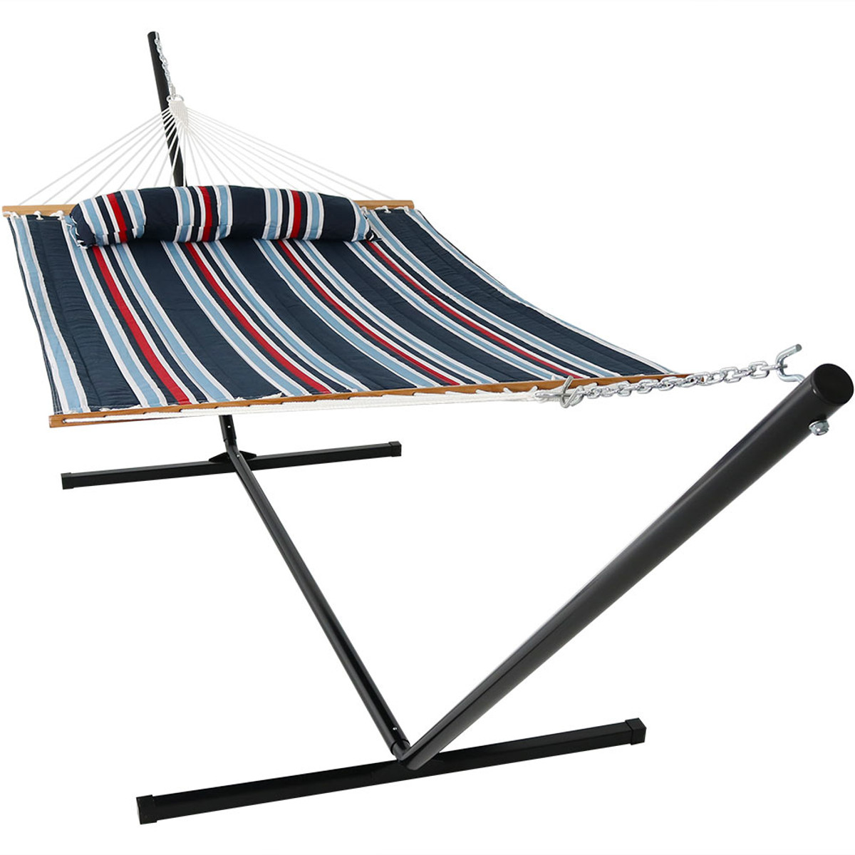 Sunnydaze 2 Person Freestanding Quilted Fabric Spreader Bar Hammock, Choose from 12 or 15 Foot Stand, Nautical Stripe