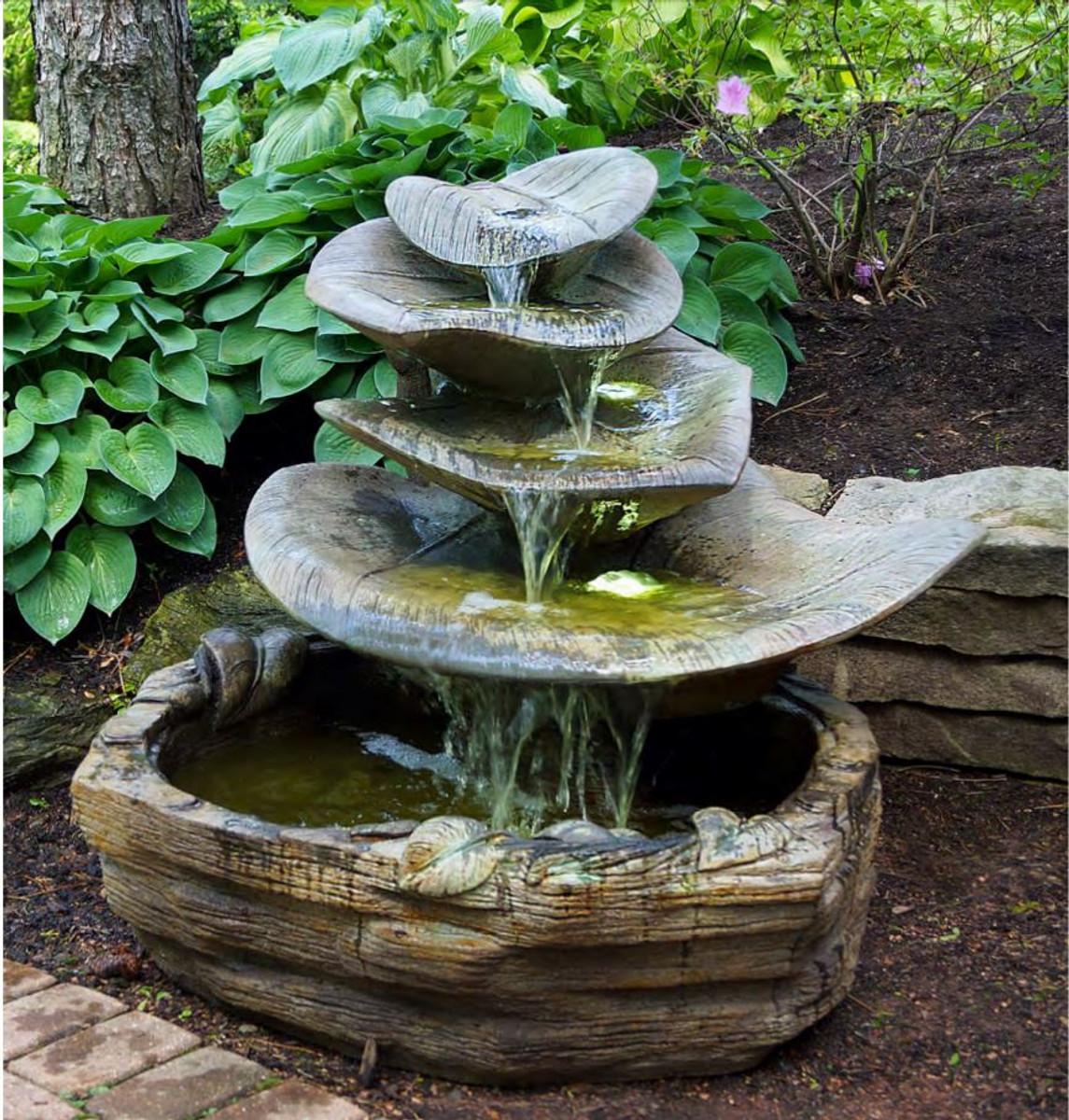Small Fountain Outdoor: Henri Studio Cast Stone Giant Leaf Water Fountain