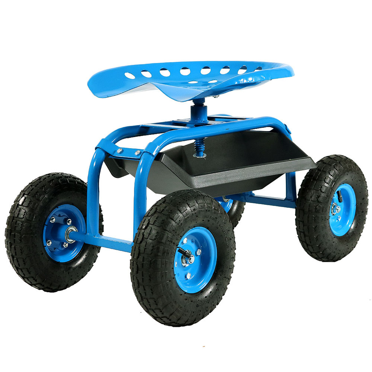Sunnydaze Rolling Garden Cart with Seat & Tray