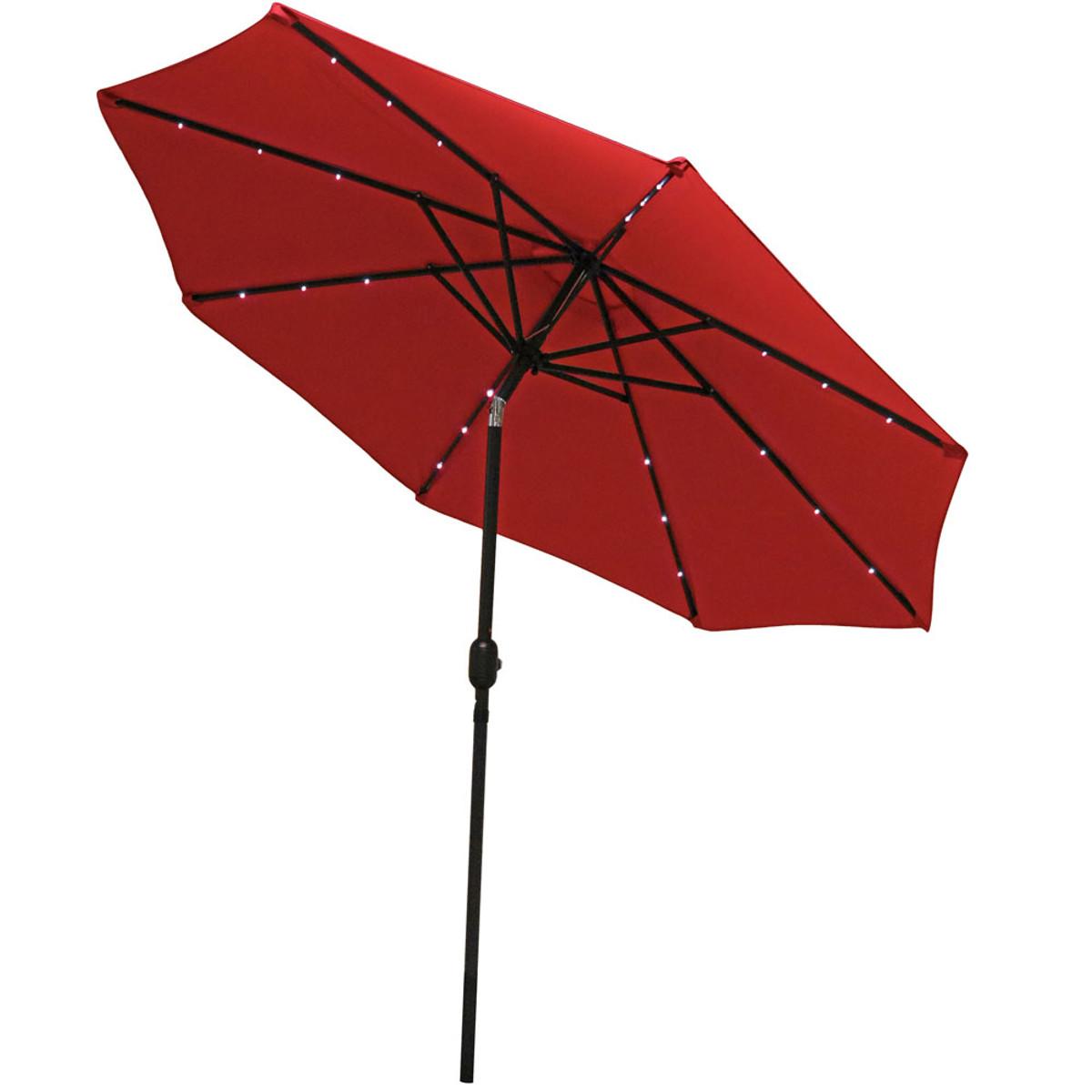 Sunnydaze Solar Powered Patio Umbrella With Led Lights