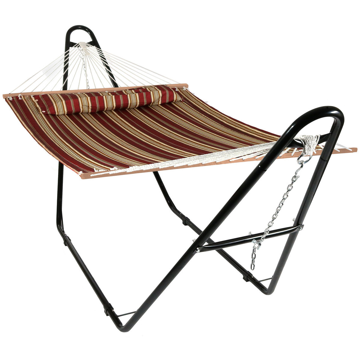 Sunnydaze Deluxe 2-Person Hammock with Spreader Bars and 15-Foot Stand, 400-Pound Capacity, American Style