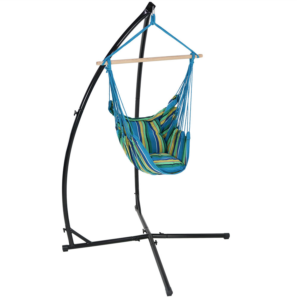 Picture of: Sunnydaze Hanging Hammock Swing With Two Cushions And X Stand Outdoor Furniture